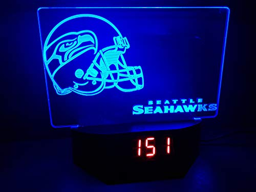 Seattle Seahawks Led Tischlampe Neonschild Schild 3D Neon NFL mit Uhr und Wecker USA Schnelle Lieferung
