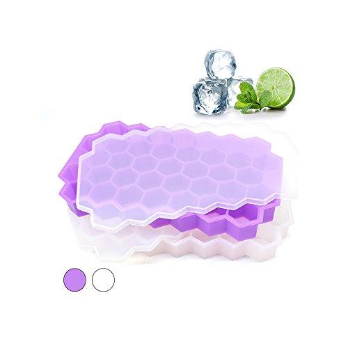 Form Lebensmittelqualität Ice Cube Tabletts mit Deckel kleine Eiswürfel Frozen Werkzeug Idee für Küche Tools zu DIY Special Small Chillen Würfel White&Purple (Frozen Ideen)