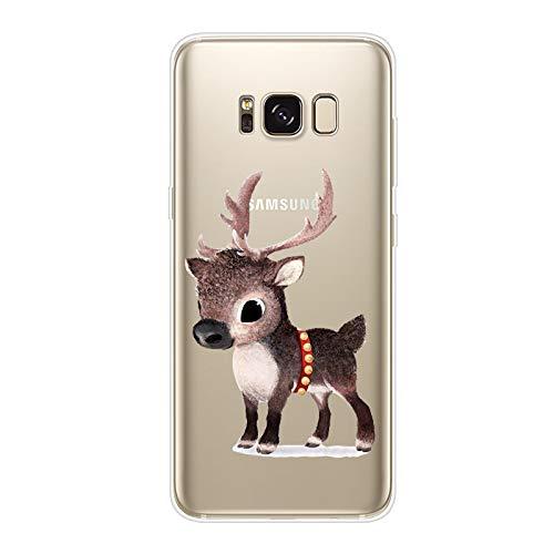 Herbests Kompatibel mit Samsung Galaxy S8 Handyhülle Transparent Silikon TPU Schutzhülle Tier Muster Klar Durchsichtig Crystal Clear Dünn Kratzfest Stoßfest Case,Braun Hirsch