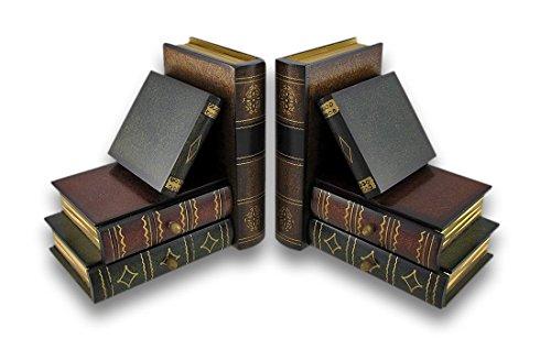 Bellaa Classique en Bois Serre-Livres Livre Bibliothèque W/Hidden tiroirs