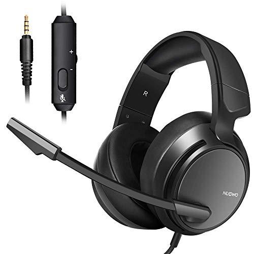 Micolindun N12 Stereo Gaming Headset für PS4, Xbox One, PC mit LED Bass Surround Soft Memory Earmuffs, Noise Cancelling Over Ear Kopfhörer Mikrofon, Lautstärkeregler für Laptop Tisch