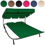 TecTake GIARDINO ARREDO SDRAIO LETTINO PRENDISOLE DOPPIO PER 2 PERSONE +2 CUSCINI - disponibile in diversi colori - (Verde)