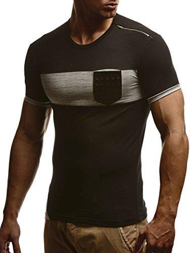LEIF NELSON Herren T-Shirt Sweatshirt Slim Fit LN780 Schwarz