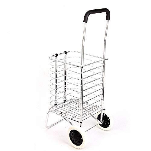 Miarui Zusammenklappbarer Einkaufswagen, tragbar, mit Zwei Rädern, leicht zu transportierender, Leichter Wagen, geeignet für Wäsche, Einkauf, Lebensmittel