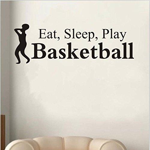 Saingace Essen Sie Schlaf-Spiel-Basketball-Buchstabe-Abziehbild-Wand-Dekor-Aufkleber Raum-Sport Wandaufkleber Wandtattoo Wandsticker