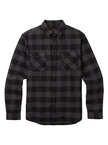 Burton brighton, camicia in flanella uomo, true black buffalo, l