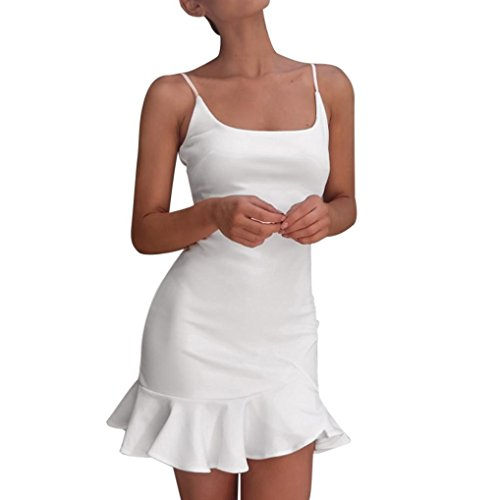 Damen Sommerkleider Schulterfrei Minikleid Langtop Shirt Damen Kleid Ärmellos Trägerkleid Partykleid Bodycon Dress Bleistiftkleid Backless Abendkleid Beachwear Strandkleider (White, L)