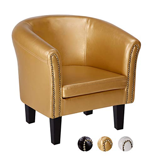 CCLIFE Chesterfield Sessel Loungesessel mit Hocker Clubsessel Cocktailsessel Ledersessel Braun/Weiss/Gold, Farbe:Gold