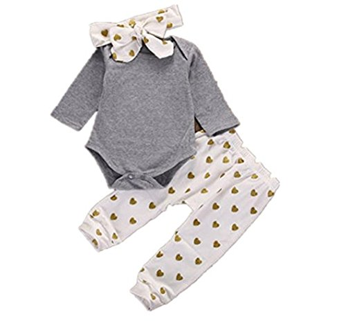 BeautyTop 3PCS/Set Neugeborene Baby Jungen Mädchen Spielanzug Tops + Herz Hosen Stirnband Outfits Kleidung (70/0-3 Monate, Weiß) -