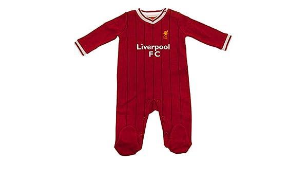 8432abb1b27c2 Liverpool FC officiel - Grenouillère thème football - bébé enfant - couleurs  maillot match à domicile - rouge - Rouge rayure - 3-6 mois  Amazon.fr  ...