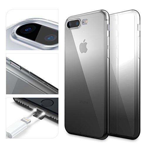 URCOVER Custodia Protettiva Arcobaleno per Apple iPhone 7 Plus   Back Cover Morbida in Silicone TPU   Slim Case Trasparente Ultra Sottile in Nero