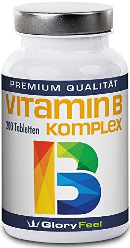 Vitamin B Komplex Hochdosiert 200 Tabletten - Alle 8 B-Vitamine in einer Tablette Ohne Magnesiumstearate - B1 B2 B3 B5 B6 B7 (Biotin) B9 (Folsäure) und B12 - Über 6 Monte Vitamin-B von GloryFeel