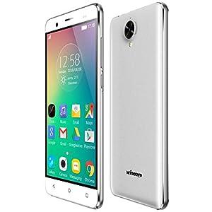 Winnovo K54 Smartphone 4G débloqué 5.0 Pouces Android 5.1 Téléphone Portable (Dual SIM, Quad Core 8Go ROM, IPS 1280 * 720 HD Écran, 8MP / 2MP Dual Caméras, Geste Intelligent, Armature en métal, GPS, WiFi) Blanc