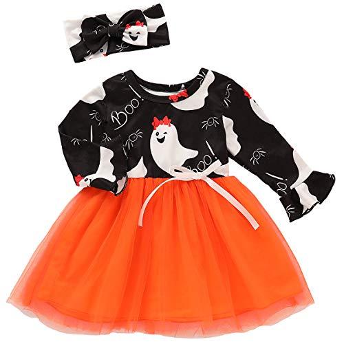 puseky Kinder Baby Mädchen Halloween Kleid Langarm Tutu Mesh Kleid & Stirnband Kleidung Set (Kleid Tutu Ghost)