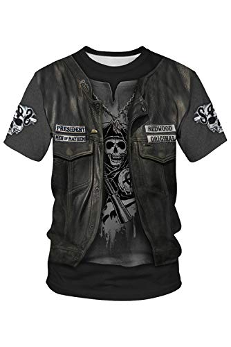 RedJade Herren Damen Anime Cosplay Kostüm Skeleton Pirates Viking Skulls Skelett Wikinger-Schädel Piraten Kurzarm - Herren Piraten Kostüm Tshirt