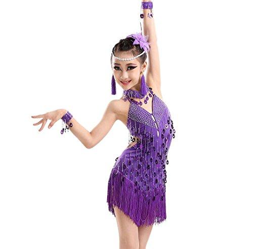 (YGZG Kinder Latin Dance Ballett Tanzen Mädchen Mädchen Truppe Wettbewerb Kleidung Tanz Kostüm Wettbewerb Lila, 130cm)