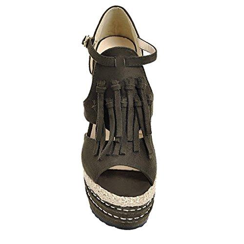 UH Femmes Sandales à Talons Compensees de 14 CM avec Plateform Frange et Boucles Peep Toe Confortables Simple Vert