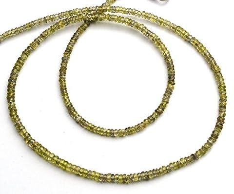 1Strang Natur Grün Saphir 3MM ungefähr Facet Rondelle Perle 43,2cm lang