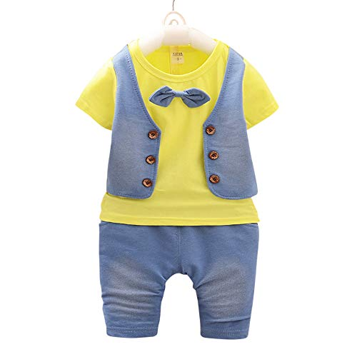 Si Noir by Hopscotch Boys Cotton Waistcoat Style Bow Attached T-Shirt and Pant Set in Yellow Colour