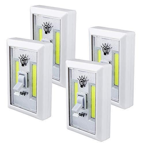 SchrankLicht - Beinhome Wandlichter Schrank COB LED, Batteriebetriebenes geführtes Nachtlicht für Kabinett, Regal, Wandschrank [4 Stück] - 11 Stück, Super Betten