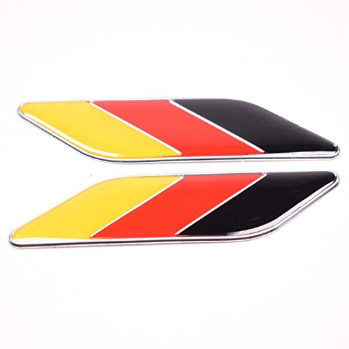 Dsycar 2pcs/Paire 3d en métal Drapeau de l'Allemagne Emblème badge Coupe Allemagne de voiture du corps, EX: Audi BMW Mercedes Porsche Volkswagen, etc. Dsycar