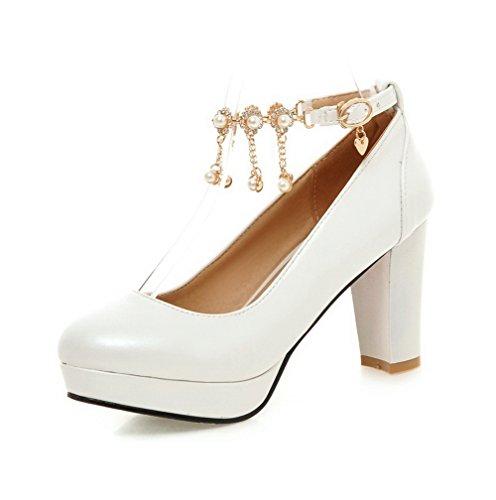 VogueZone009 Femme Matière Souple Rond à Talon Haut Boucle Couleur Unie Chaussures Légeres Blanc