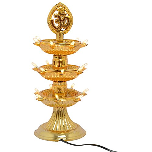 Go Hooked 3 Layer New Electric Gold LED Bulb Lights Diya|Deep|Deepak for Pooja/Puja|Mandir Diwali Festival Decoration  available at amazon for Rs.449