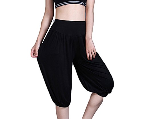 Baymate Pantalon de Sport Yoga Pantacourt Elastique Extensible - Baggy Pantalon Sarouel Femme Noir