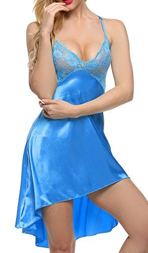 Avidlove Satin Negligee Sexy Damen Nachtwäsche Nachtkleid Nachthemd mit Spitze BH Lingerie Dessous set Sleepwear kleid