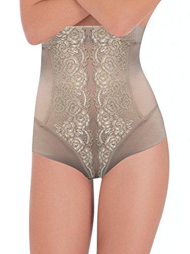 Lady bella g3118 - guaina contenitiva modellante donna a vita alta, con eleganti inserti in pizzo, pancera snellente su fianchi addome per una pancia piatta (skin, xl/xxl)