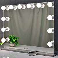 BEAUTME Hollywood Makeup Mirror with Lights, Large Frameless Vanity Mirror with 12 LED Bulbs, Tabletop Mirrors With Small 10X Magnifying Mirror (70x55)
