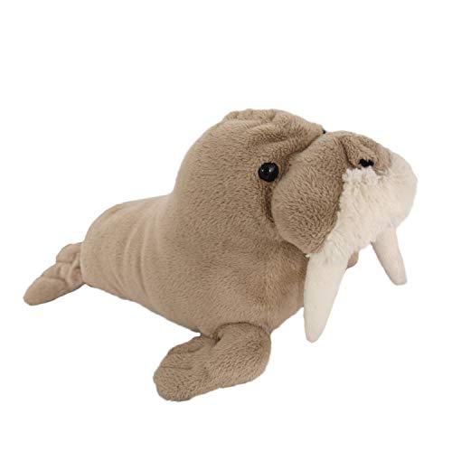 Plüschrobbe Grosses Plüschtier Robbe XL ideales Stofftier Geschenk Walross in Beige Creme niedliches Kuscheltier für Kinder und Baby Plüschkissen Tier Kissen Auflage