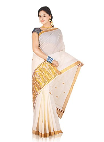 Atex Cotton Saree with Blouse (5103_Ivory)