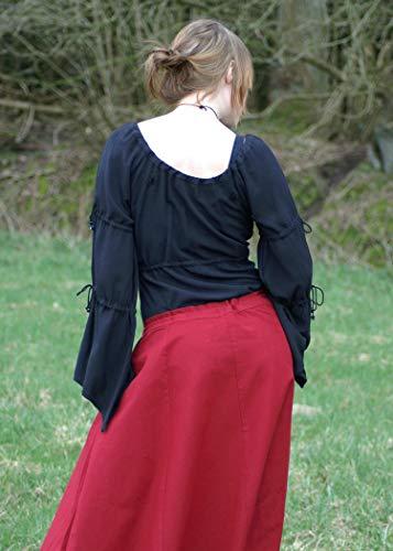 Mittelalterlicher Rock, weit ausgestellt, rot aus Baumwolle Größe M - 4