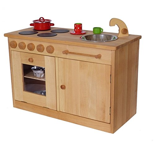 Kinder-Spielküche | Spielküche 'Rotkaeppchen' | U3 Kindergarten-Spielzeugküche | 18mm massives Buchenholz | Backofen mit Acrylglasscheibe | Drehknöpfe mit Klichgeräusch |...