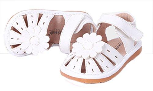 Filles près orteil Fleur Princesse décontracté extérieur Sandales (enfant/petit enfant) Blanc