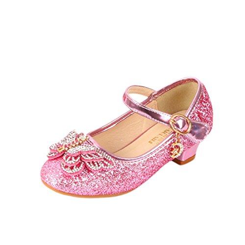 O&N Prinzessin Schuhe mit Schmetterling Stöckelschuhe für Mädchen mit Schmetterling Rosa 28