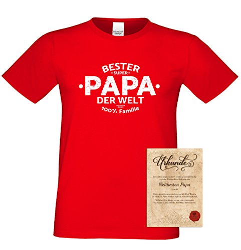 Herren kurzarm Motiv T-Shirt als Vatertagsgeschenk Geburtstagsgeschenk :-: Bester Papa der Welt :-: Geschenkidee für Männer Geburtstag Weihnachten Vatertag :-: Farbe: rot Rot