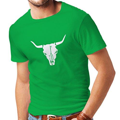 Lepni.me maglietta da uomo teschio di toro - idee regalo divertenti per cacciatori, tiratori, cowboy (medium verde bianco)