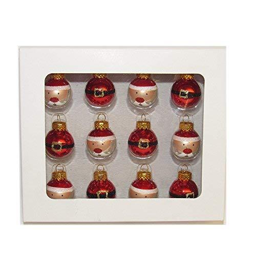 Kurt Adler 25mm Glas Santa + Schnalle Ball Ornaments 12P -