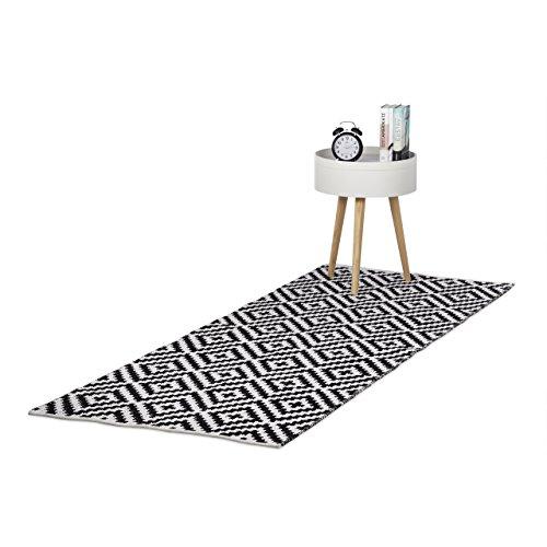 Relaxdays Teppich Baumwolle, Läufer rutschfest, Teppichläufer Flur, gewebt, Wohnzimmerteppich 80x200 cm, schwarz weiß
