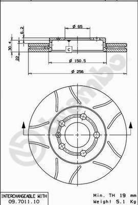 Preisvergleich Produktbild BREMBO 09.7011.75 Bremsscheibe Scheibenbremsen,  Bremsscheiben (x2)