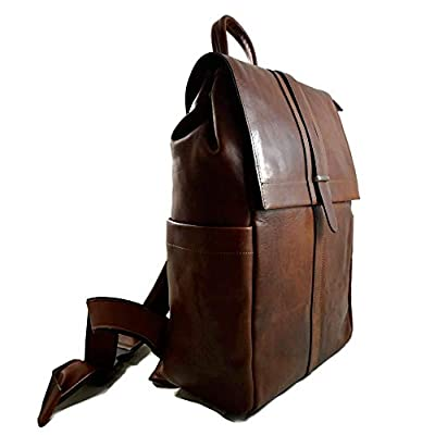 Leather brown backpack genuine leather travel bag weekender sports bag gym bag leather shoulder ladies mens satchel light backpack - handmade-bags