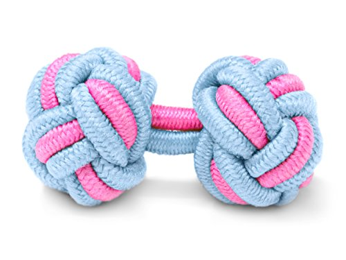 THE SUITS CREW Manschettenknöpfe Seidenknoten Herren Damen Nylon Stoff | Cufflinks Silk Knots für alle Umschlagmanschetten Hemden | Zweifarbig (Hellblau-Rosa)