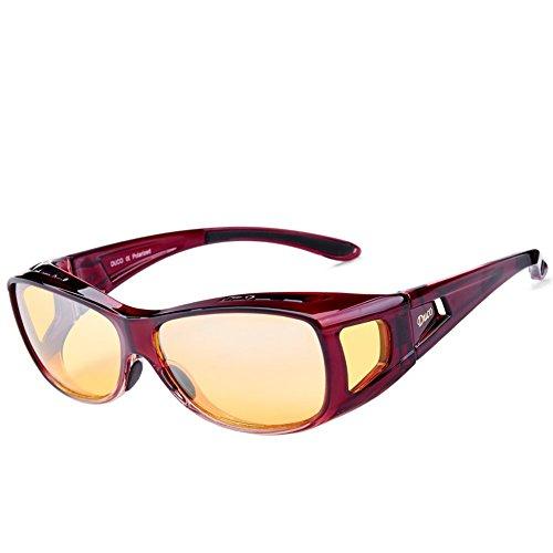 DUCO Polarisierte Nachtfahrtbrille Überbrille für Korrektionsbrille für Brillenträger Polarisierte Nachtsichtbrille 8953Y (M - Rot)