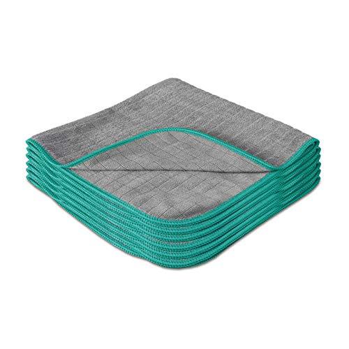 Lavandola® Mikrofasertücher für Ihren Haushalt 6 Stück 40x40cm - extrem saugstark und schonend weich dank 380 GSM- fusselfreie Reinigungstücher für Haushalt, Küche und Bad - Microfasertuch