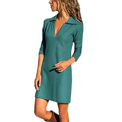 JURTEE Frühling Damen Langarm Mini Dress Herbst Damen V-Ausschnitt Pullover Einfarbig Kleid