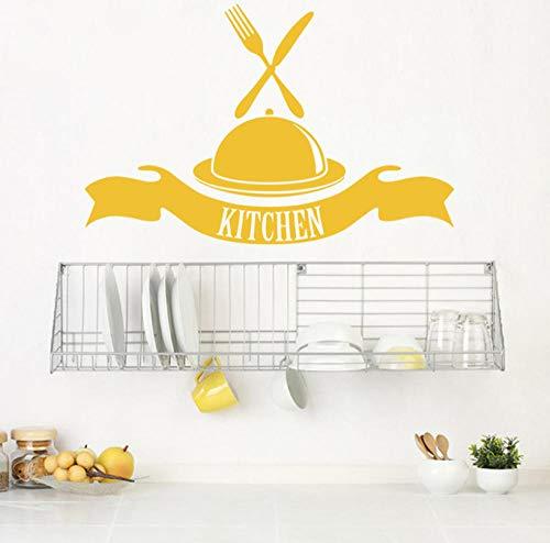 rylryl Küche Buffet Western Food Messer Gabel Vinyl Wandaufkleber Aufkleber Cafe Esszimmer Muster 57x87cm