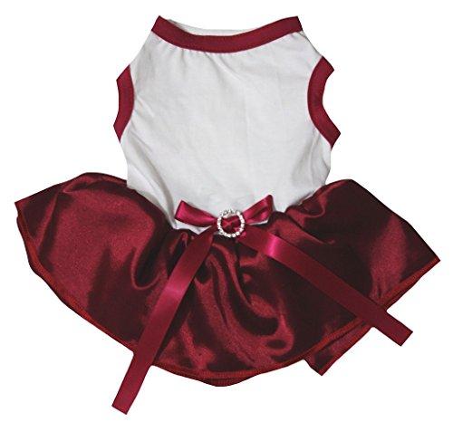 petitebelle Puppy Kleidung Hund Kleid Uni weiß TOP Rot Tutu -