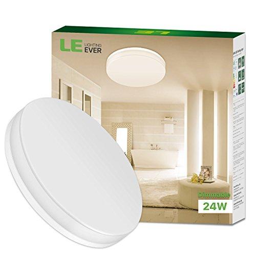 LE 24W dimmbar Deckenleuchte 2100lm Deckenlampen 3000K Warmweiß led Deckenlampe Ø330x48mm ideal für Badezimmer Balkon Flur Bad Küche Wohnzimmer.